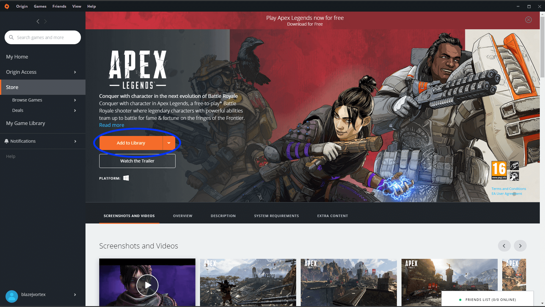 Add Apex legends to Origin library