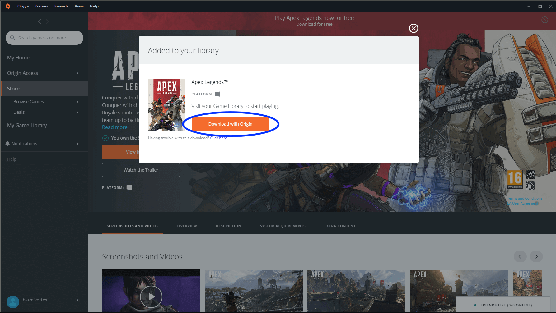 Adding Apex Legends to library