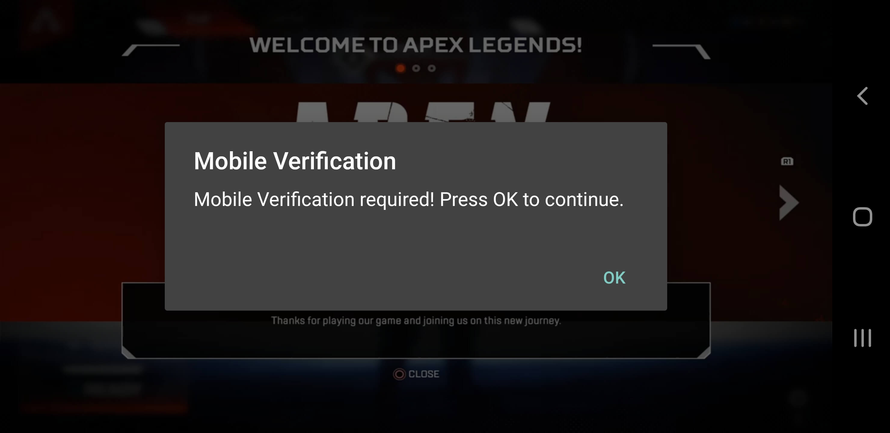 mobile verification for Apex legends on mobile